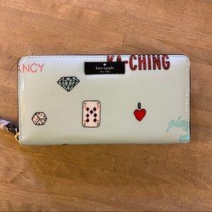 KATE SPADE Zip Around Wallet NEW! Casino Theme